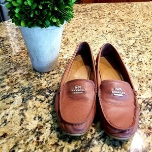 Brown Saddle Womans Coach Leather Loafers size 8.5
